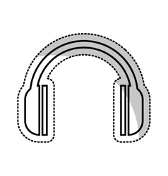 Earphones audio device icon vector