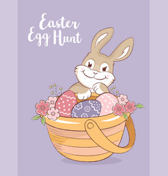 Easter bunny and a basket with eggs and flowers vector