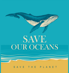 eco poster concept with a big hand-drawn whale vector image