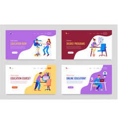 Education course horizontal banners vector