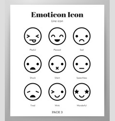 Emoticon icons line pack vector