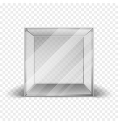 Empty clean glass box cube showcase isolated on vector
