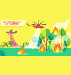 fire fighting poster with aircraft and helicopter vector image