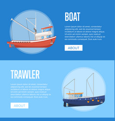 Fishing company flyers with boats vector