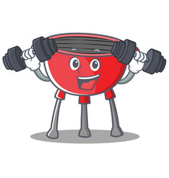 Fitness barbecue grill cartoon character vector