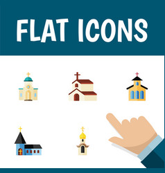 Flat icon christian set of catholic christian vector