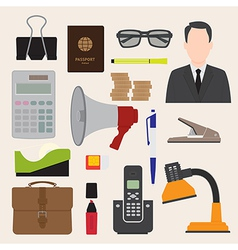 Flat icons office business collection set 1 vector image