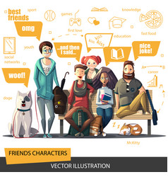 Friends characters set a company young people vector