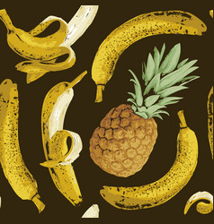 fruit seamless pattern with bananas and pineapple vector image