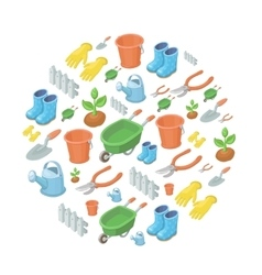 Garden tools background vector