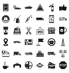 Gas station icons set simple style vector