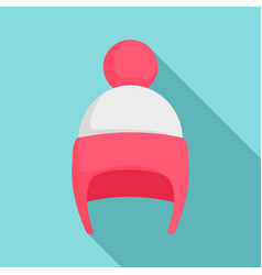 Girl winter hat icon flat style vector