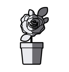 Gray scale silhouette flowered rose with leaves vector