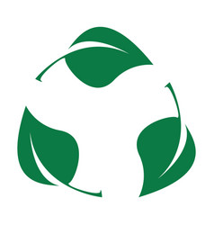 green leaves bio recyclable plastic icon vector image