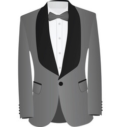 grey and black suit with white shirt and grey bow vector image