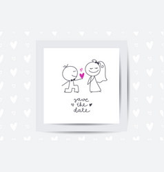 Hand drawn bride and groom vector
