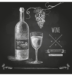 Hand drawn chalk drawing wine background vector image
