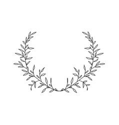 hand drawn floral wreath on white background vector image