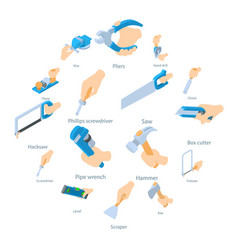 hand hold tool icons set isometric style vector image