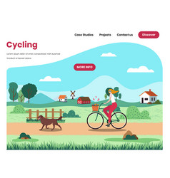 happy girl riding bicycle on rural road outdoor vector image