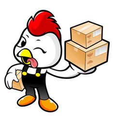 Happy rooster character holding a fresh food box vector