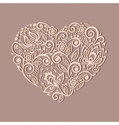 Heart symbol decorated with floral pattern vector