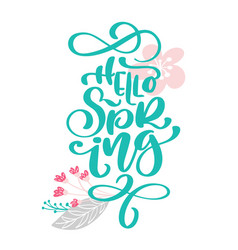 hello spring hand drawn text and design for vector image