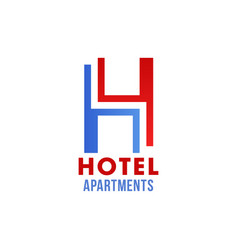 hotel icon with abstract font of letter h vector image