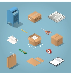 Isometric postal delivery vector image