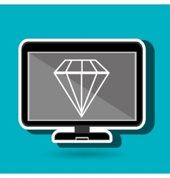 Laptop with diamond blue isolated icon design vector