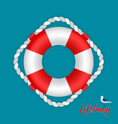 lifebuoy with a seagull vector image