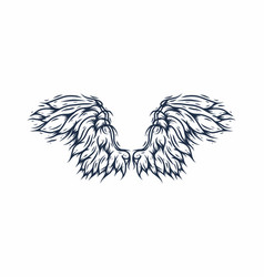 Line art drawing blue angle wings vector