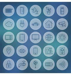 Line Circle Web Internet of Things Icons Set vector
