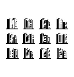 Line perspective icons company and buildings set vector