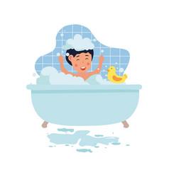 Little cute kid is washing in bath vector