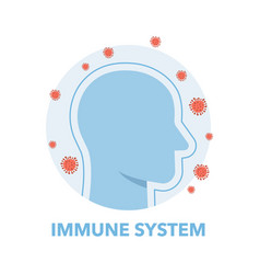 man portrait with immune system shield activated vector image