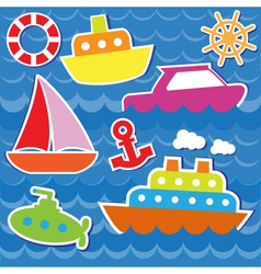 Marine transport stickers vector image
