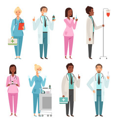 medic characters hospital stuff male and female vector image