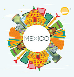 Mexico skyline with color buildings blue sky and vector