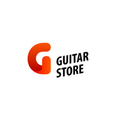 minimalistic design of logo for guitar store vector image