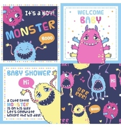 Monster party cards vector