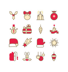 new year colorful icons collection vector image