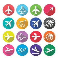 Plane flight airport - flat design icons vector