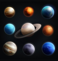 planet realistic icon set vector image