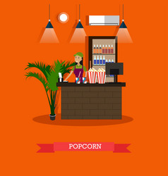 Popcorn concept in flat style vector