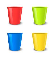 realistic empty flower pot set bright vector image