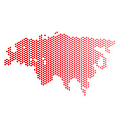Red dotted europe and asia map vector