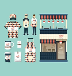 restaurant cafe set shop front design flyer menu vector image