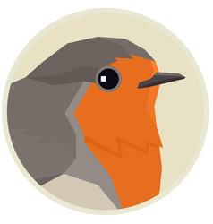Robin bird round frame vector