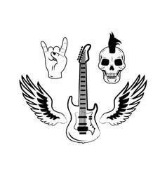 Rock and roll symbols electric guitar punk skull vector
